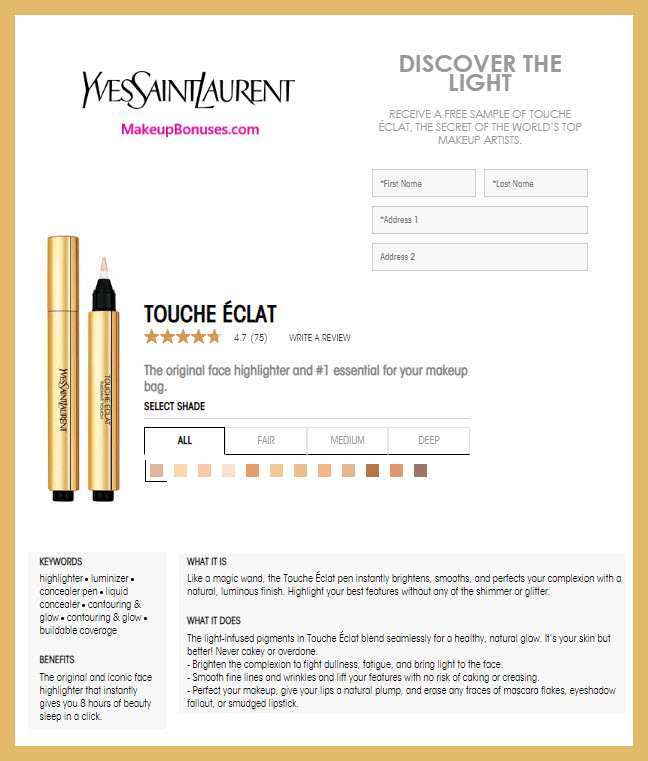 Yves Saint Laurent Free Sample - MakeupBonuses.com