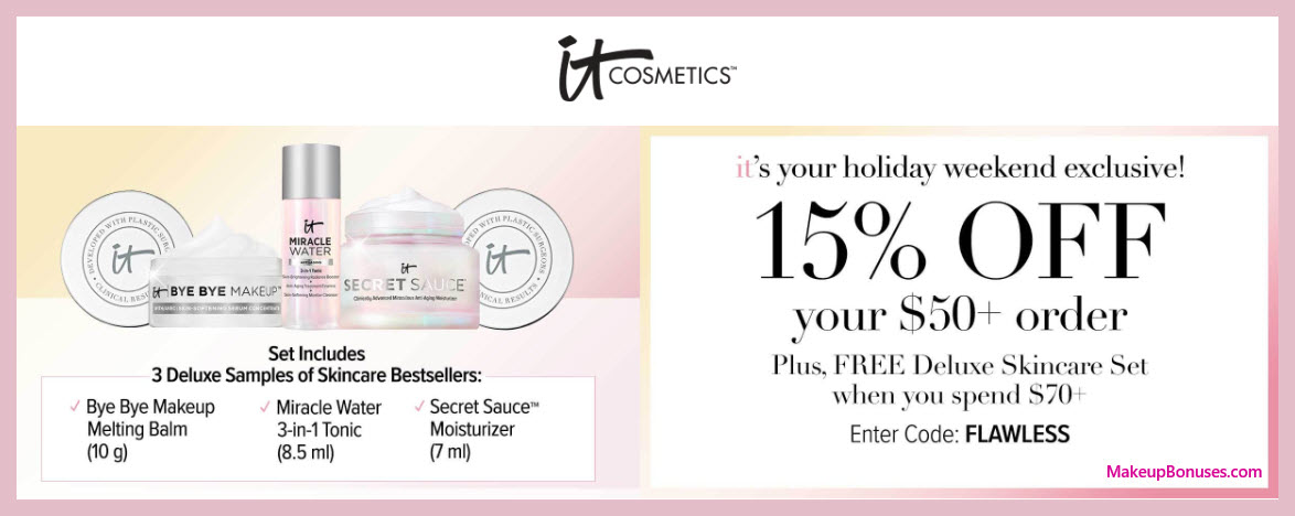 Receive a free 3-pc gift with $70 It Cosmetics purchase