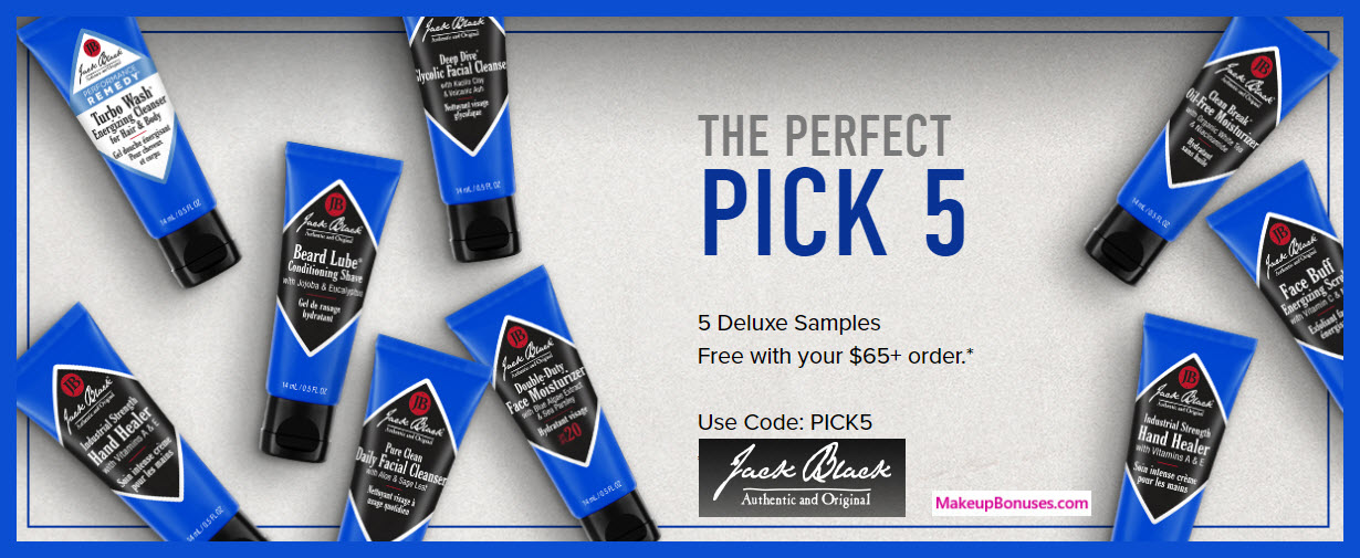 Receive a free 5-pc gift with $65 Jack Black purchase