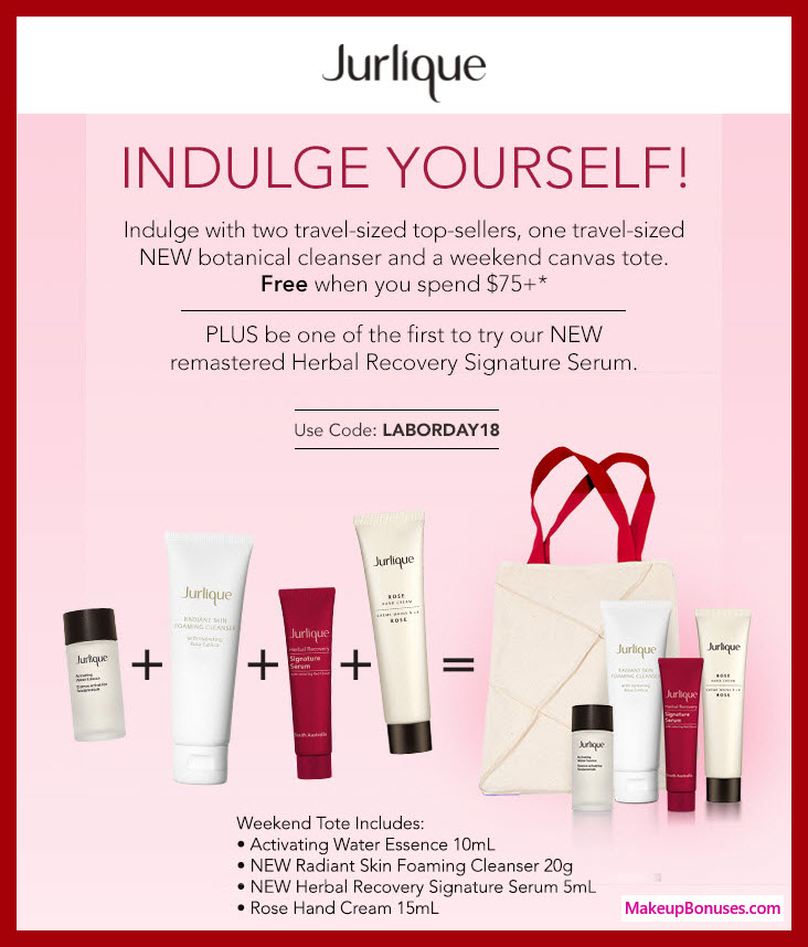 Receive a free 5-pc gift with $75 Jurlique purchase