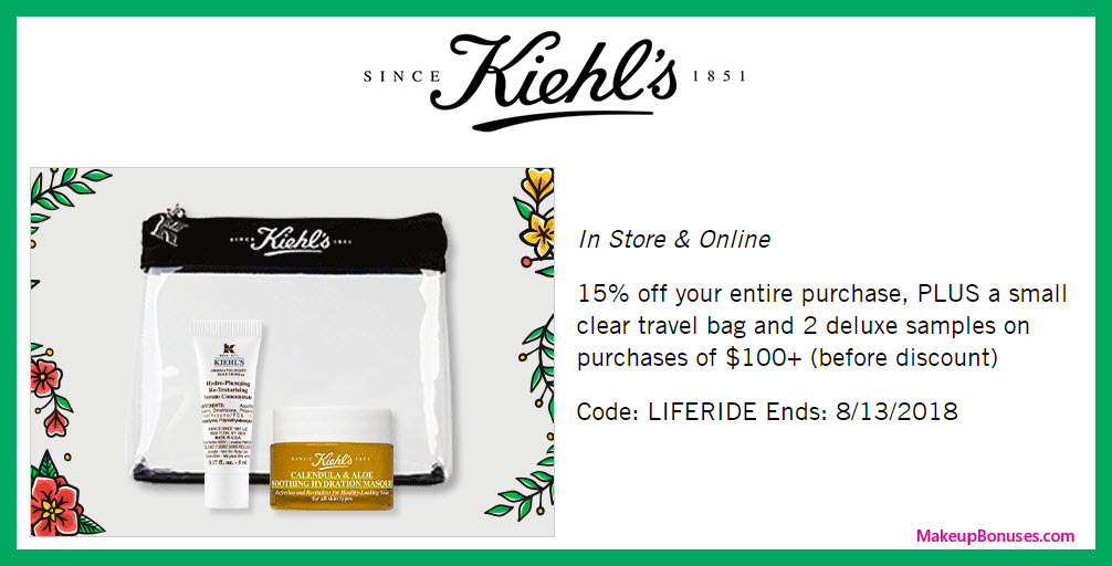 Receive a free 3-pc gift with $100 Kiehl's purchase