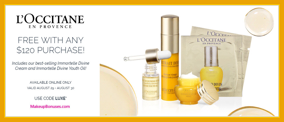 Receive a free 5-pc gift with $120 L'Occitane purchase