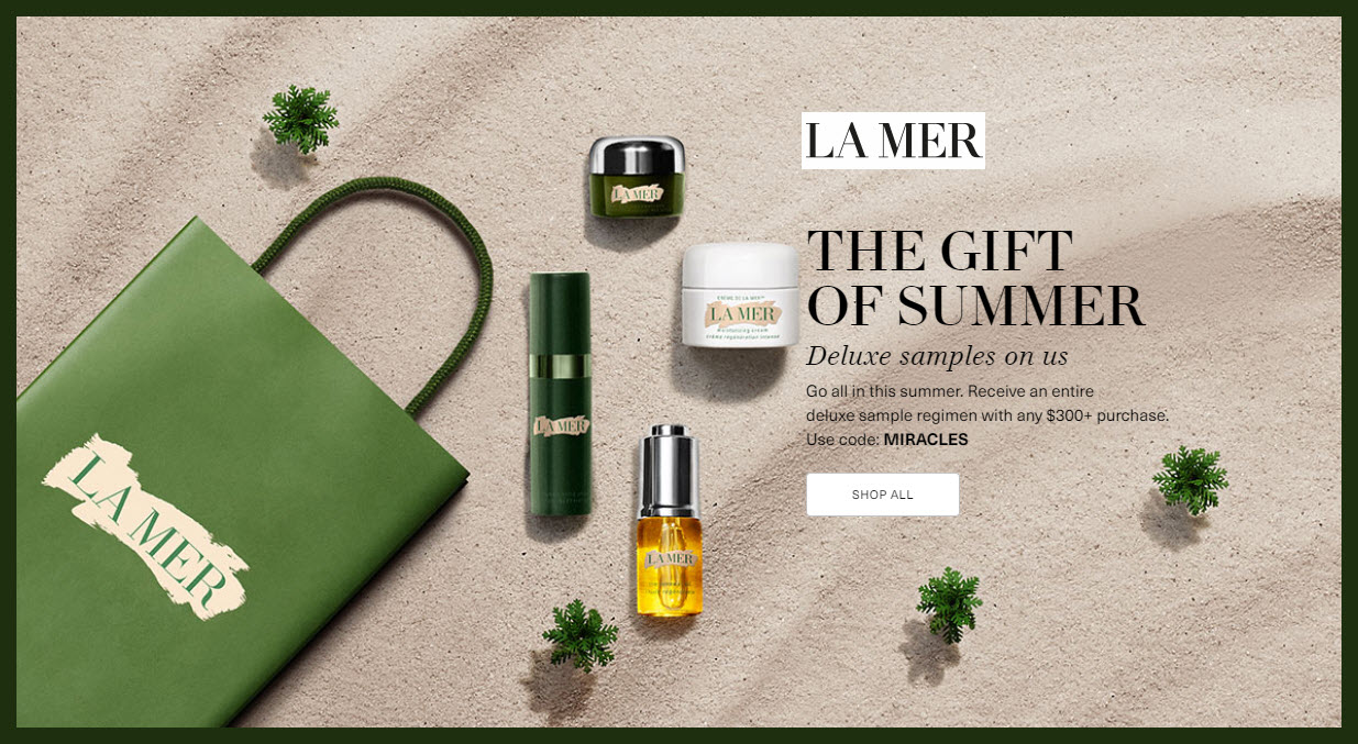 Receive a free 4-pc gift with $300 La Mer purchase