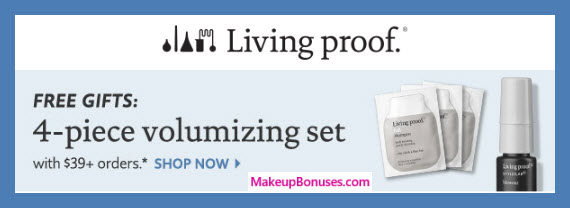 Receive a free 4-pc gift with $39 Living Proof purchase