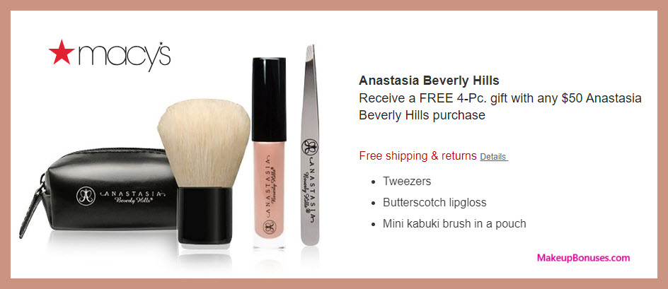 Receive a free 4-pc gift with $50 Anastasia Beverly Hills purchase