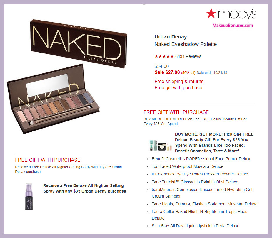 Urban Decay Naked Eyeshadow Palette MakeupBonuses.com