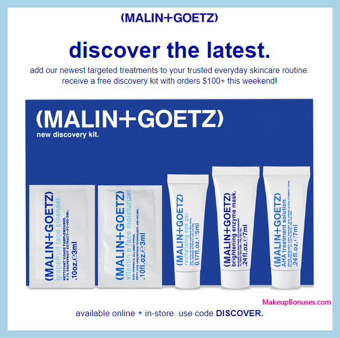 Receive a free 5-pc gift with $100 Malin + Goetz purchase