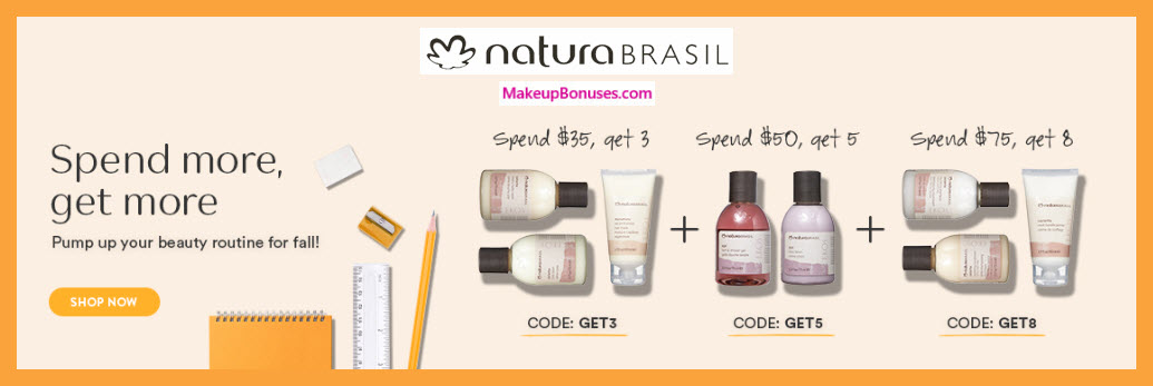 Receive a free 3-pc gift with $35 NaturaBrasil purchase