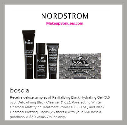 Receive a free 4-pc gift with $50 Boscia purchase
