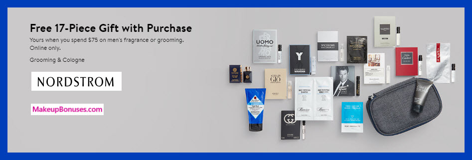 Receive a free 17-pc gift with $75 Men's Grooming or Fragrance purchase