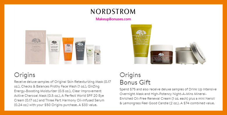 Receive a free 6-pc gift with $50 Origins purchase