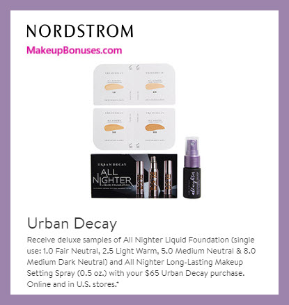 Receive a free 5-pc gift with $65 Urban Decay purchase