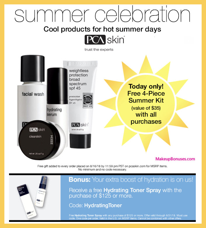 Receive a free 5-pc gift with $125 PCA Skin purchase