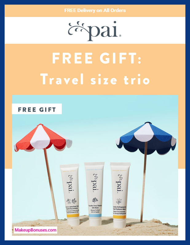 Receive a free 3-pc gift with ~39 (30 GBP) purchase