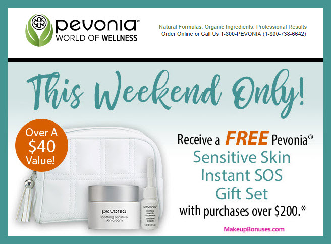 Receive a free 3-pc gift with $200 Pevonia purchase