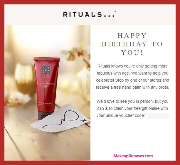 Rituals Birthday Gift - MakeupBonuses.com #Rituals