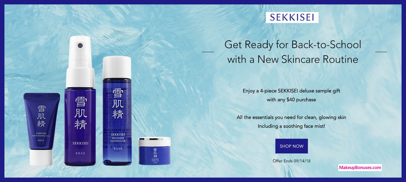 Receive a free 4-pc gift with $40 Sekkisei purchase