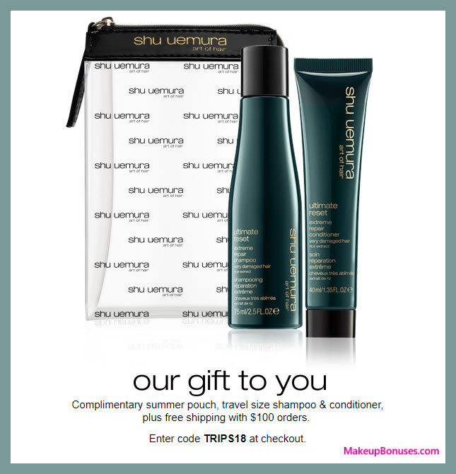Receive a free 3-pc gift with $100 Shu Uemura Art of Hair purchase