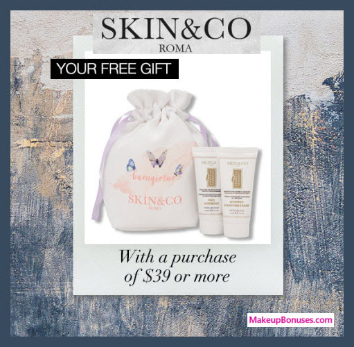 Receive a free 3-pc gift with $39 Skin and Co Roma purchase