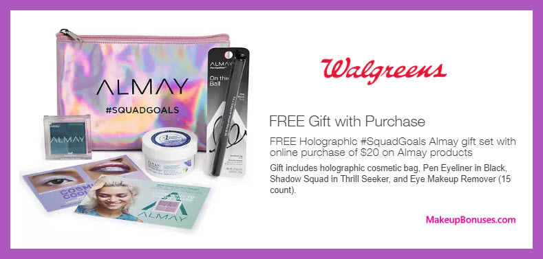 Receive a free 4-pc gift with $20 Almay purchase