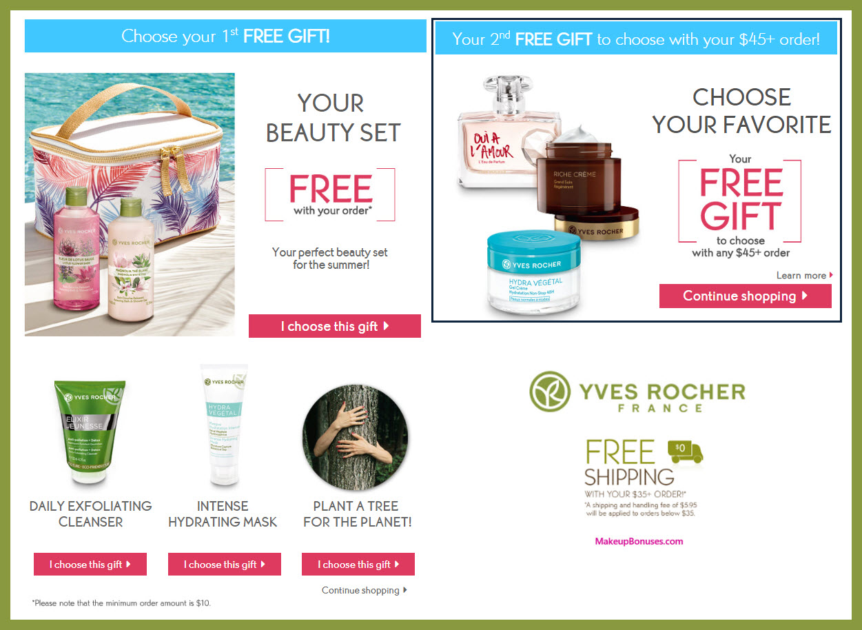 Receive your choice of 3-pc gift with $10 Yves Rocher purchase