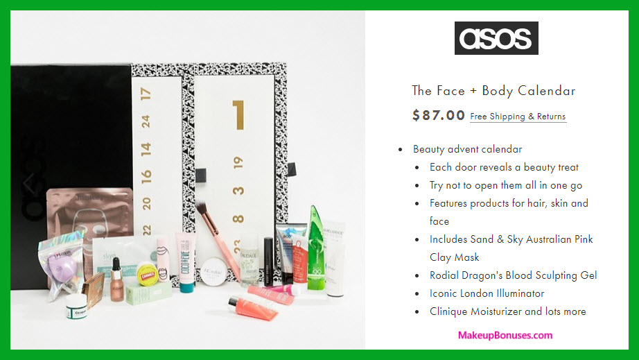 The Face + Body Calendar - MakeupBonuses.com #ASOS.US #ASOS