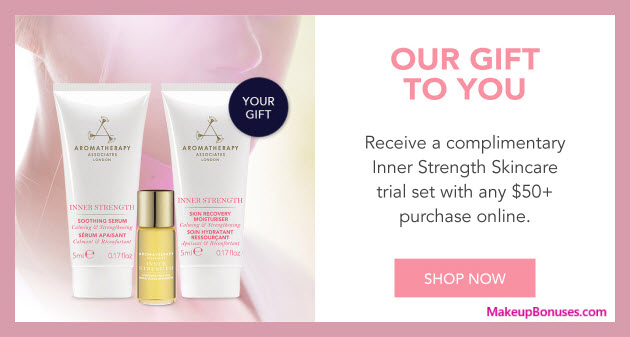 Receive a free 3-pc gift with $50 Aromatherapy Associates purchase