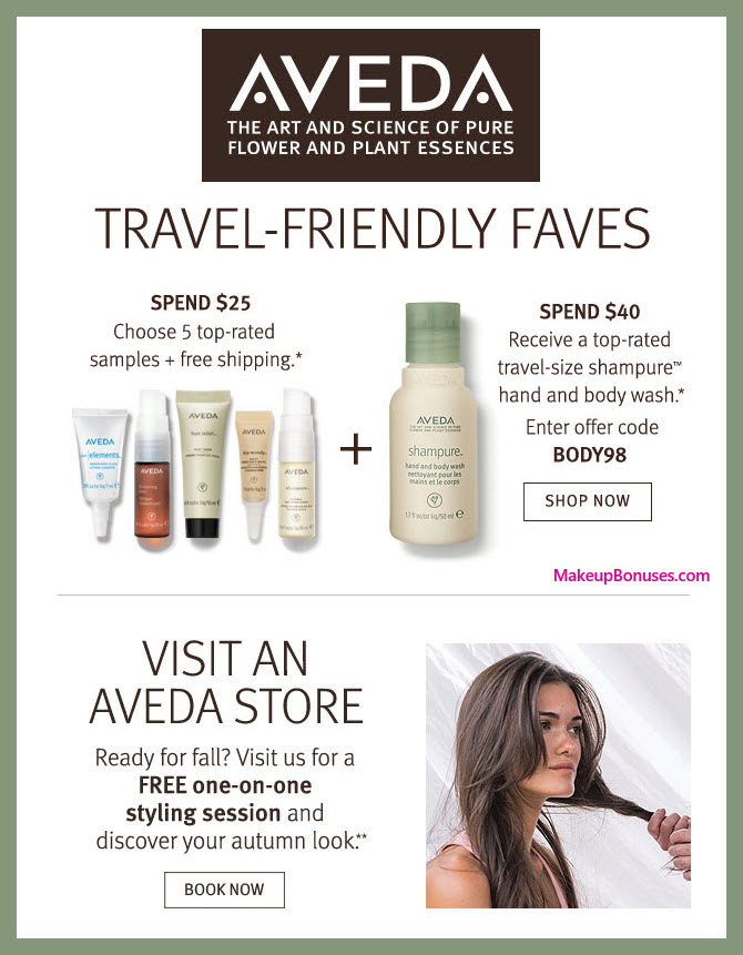Receive your choice of 5-pc gift with $25 Aveda purchase