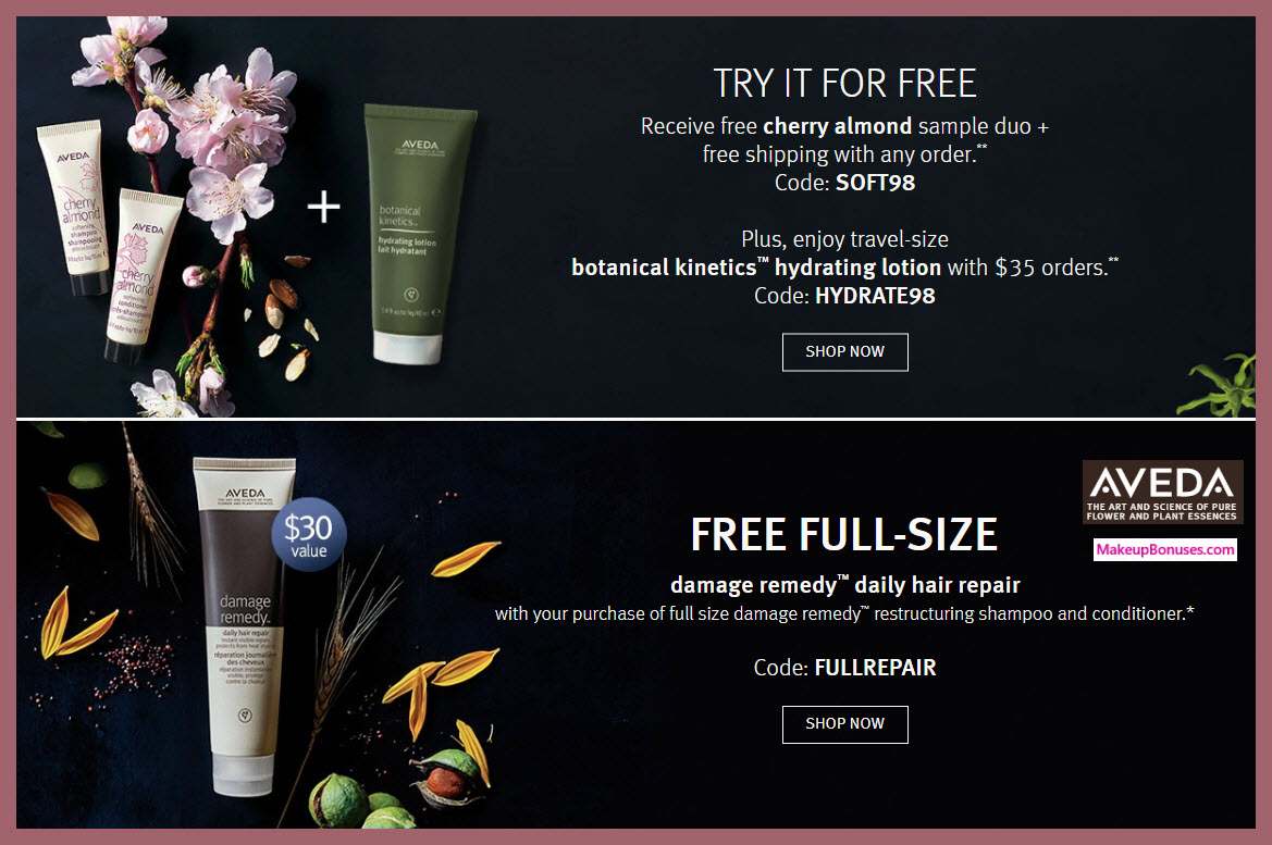 Receive a free 3-pc gift with $35 Aveda purchase #aveda