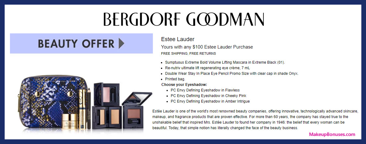 Receive a free 5-pc gift with $100 Estée Lauder purchase #bergdorfs