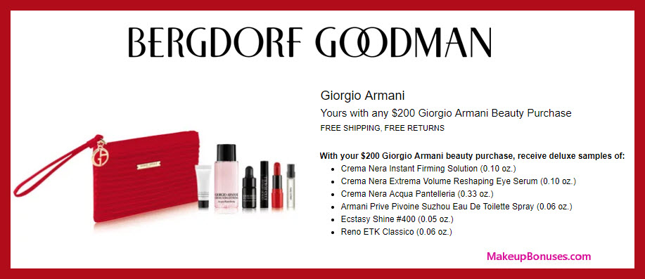 Receive a free 6-pc gift with $200 Giorgio Armani purchase #bergdorfs