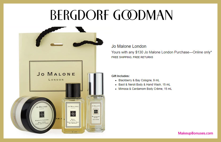 Receive a free 3-pc gift with $130 Jo Malone purchase #bergdorfs
