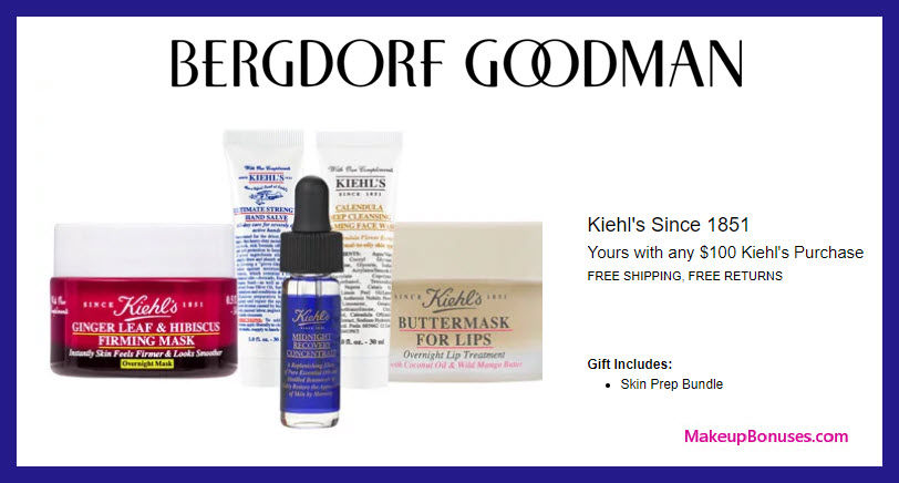 Receive a free 5-pc gift with $100 Kiehl's purchase #bergdorfs