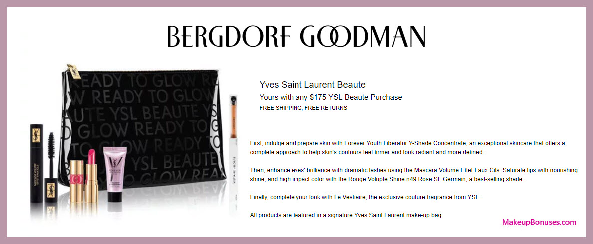 Receive a free 5-pc gift with $175 Yves Saint Laurent purchase #bergdorfs