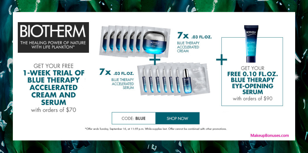 Receive a free 15-pc gift with $90 Biotherm purchase