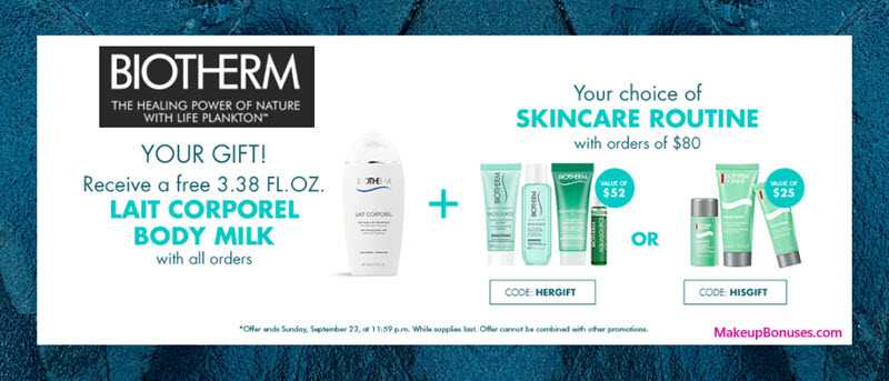 Receive your choice of 4-pc gift with $80 Biotherm purchase #BiothermUSA