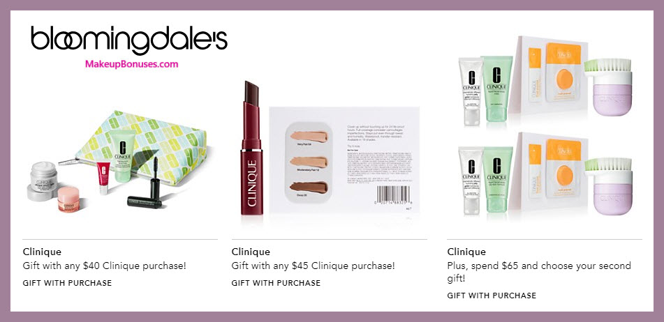 Receive a free 6-pc gift with $40 Clinique purchase #bloomingdales