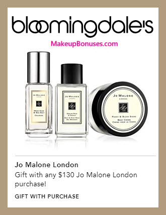 Receive a free 3-pc gift with $130 Jo Malone purchase #bloomingdales