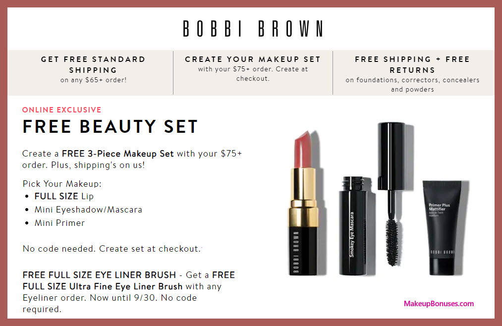 Receive your choice of 3-pc gift with $75 Bobbi Brown purchase #BobbiBrown