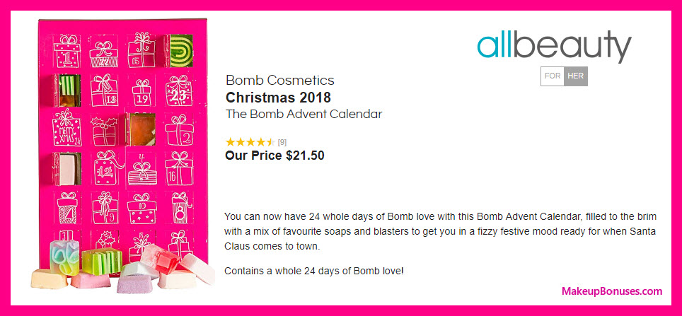 Bomb Cosmetics The Bomb Advent Calendar - MakeupBonuses.com #allbeautynews #AllBeautyPins