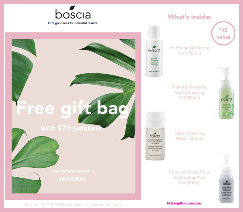 Receive a free 4-pc gift with $75 Boscia purchase #bosciaskincare