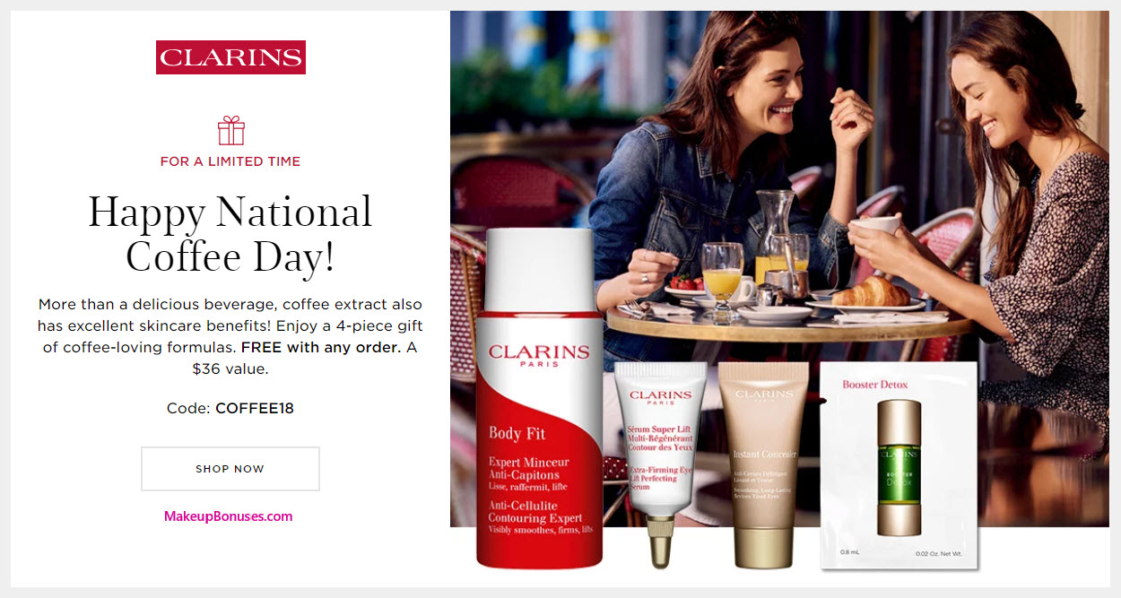 Receive a free 4-pc gift with purchase #clarinsusa