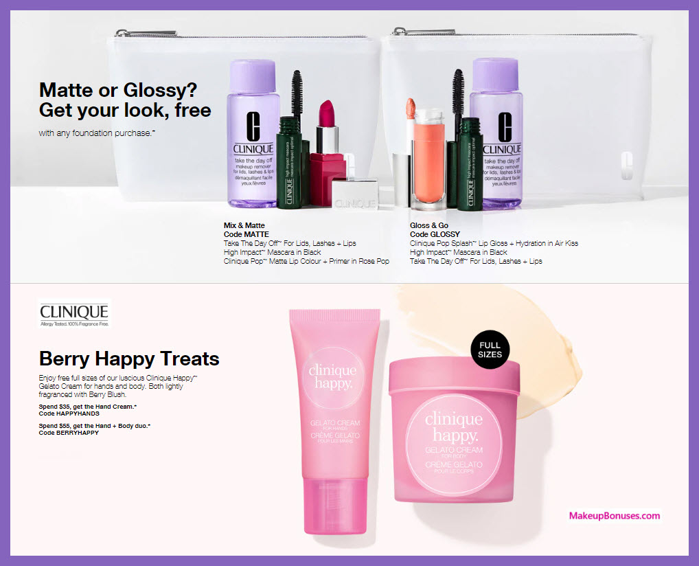 Receive your choice of 4-pc gift with foundation purchase #clinique