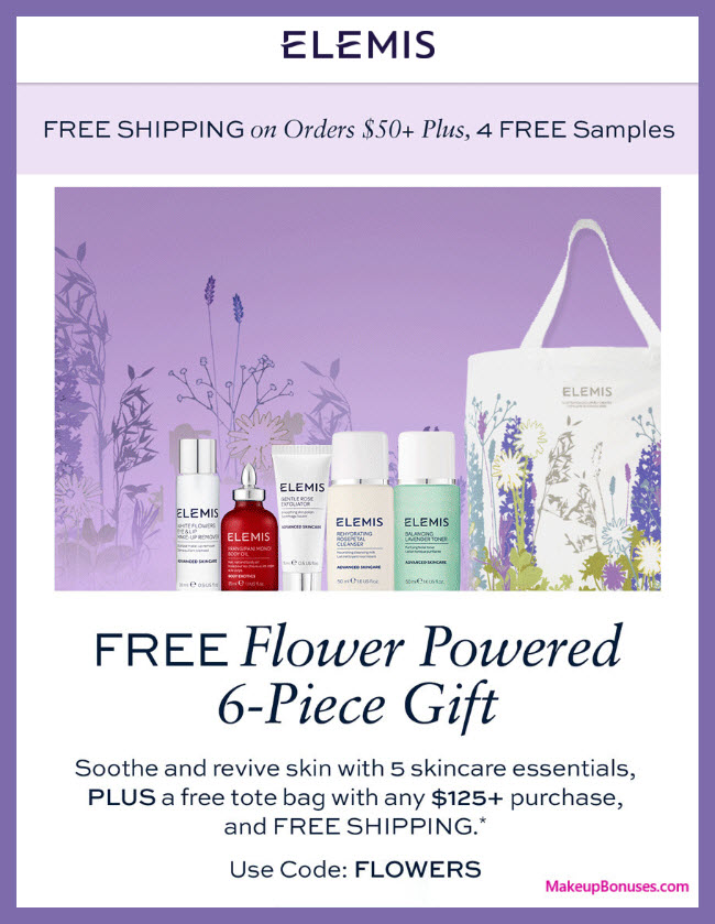 Receive a free 6-pc gift with $125 Elemis purchase