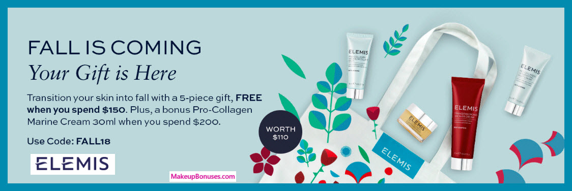 Receive a free 5-pc gift with $150 Elemis purchase #elemis