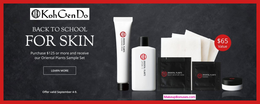 Receive a free 5-pc gift with $125 Koh Gen Do purchase
