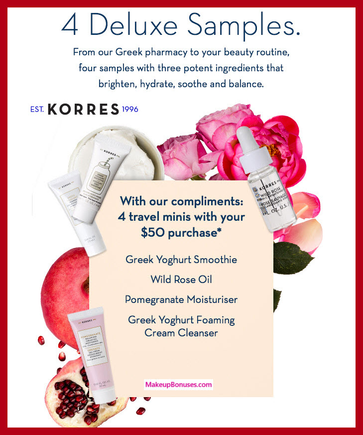 Receive a free 4-pc gift with $50 Korres purchase