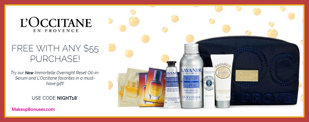 Receive a free 9-pc gift with $55 L'Occitane purchase