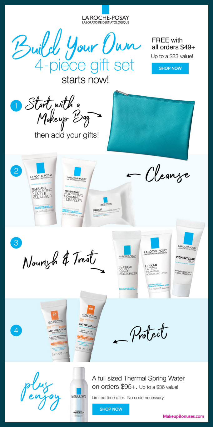 Receive your choice of 4-pc gift with $49 La Roche-Posay purchase