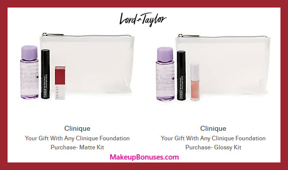 Receive your choice of 4-pc gift with Clinique Foundation purchase #LordAndTaylor